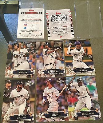 2017 Milwaukee Brewers Topps Baseball Card Pack Unopened SGA Giveaway August 12