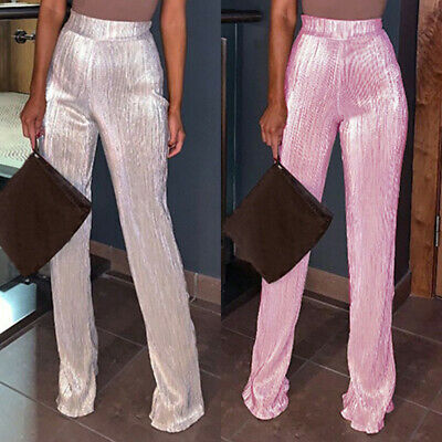 a7c7395a6b5cc7 Womens Flared Glitter Sequin Leggings High Waist Bell Bottom Pants Disco  Trouser