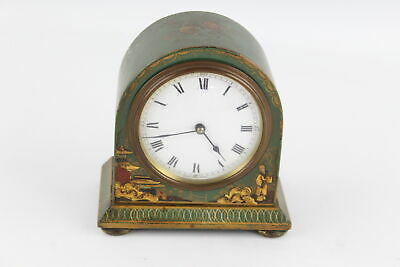 Vintage French 1930's MANTEL CLOCK Hand-Wind WORKING Chinoiserie Decorated
