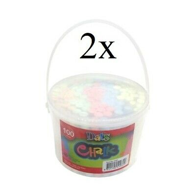 2x100 Coloured Chalk Coloured Classic Art Craft Kid Chalk Sticks With Bucket