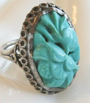 Antique Oriental Chinese Export Art Deco Sterling Carved Persian Turquoise Ring