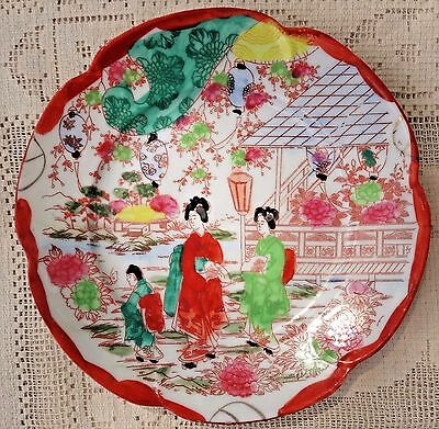 ANTIQUE EARLY 20th CENTURY SATSUNA HAND PAINTED PORCELAIN PLATE - MADE IN JAPAN