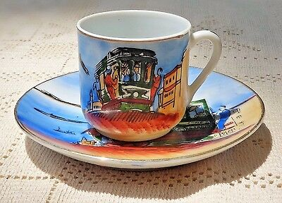 Vintage Souvenir Hand Painted Porcelain Cup & Saucer - San Francisco Cable Car