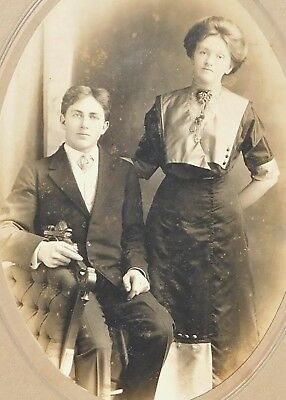 Antique Late 1800'S Cabinet Photo - Brewster New York Man & Woman Posing