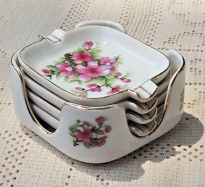 VINTAGE 1950's LEFTON CHINA HAND PAINTED W/GOLD TRIM 5 PIECE ASHTRAY SET - JAPAN