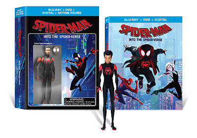 Spider-Man Into The Spider Verse Blu Ray Dvd Walmart Exclusive W Action Figure