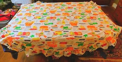 """Vintage Homemade 1970'S Food Recipe Tablecloth With Ruffles 69 By 71 """""""