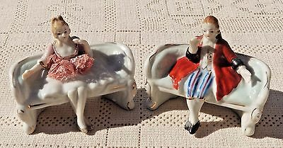 VINTAGE MID-20th CENTURY HAND PAINTED PORCELAIN COLONIAL FIGURINES - JAPAN*