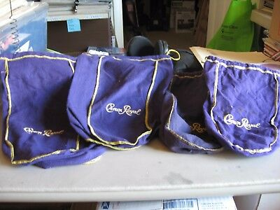 Lot of 4 Crown Royal Purple Drawstring  Bags 2 large and 2 medium