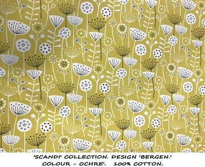 1 Pr Made To Measure/Order Scandi Bergen Ochre, Lined Curtains Long Bay Wide Mtm