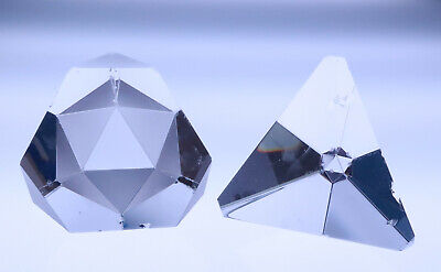 2 Stueben Geometric Prism Glass Pyramid Octron Signed Crystal