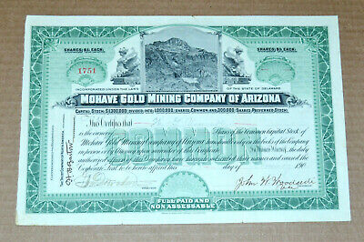 Mohave Gold Mining Company of Arizona 1904 antique stock certificate