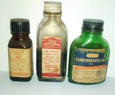 3 Vintage Pharmacy Bottles TINCTURE BENZOIN-CAMPHORATED OIL-TINCTURE OF IODINE
