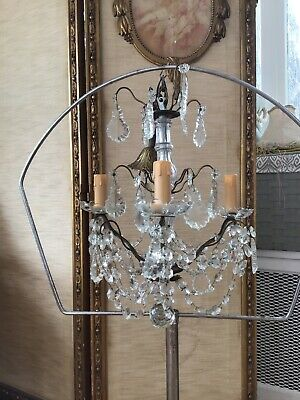 shabby Vtg Antique French Crystal swags Prism Chandelier Petite Lamp
