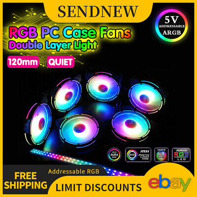 3-Pack RGB Cooling Fan PC Quiet 120mm LED Remote Control for DIY Computers Case