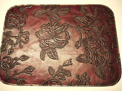 Leather Floral Mouse Pad Unique Design Made in USA Burgundy
