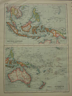 1902 Antique Map ~ East Indian Archipelago Philippine Borneo ~ Oceania Australia