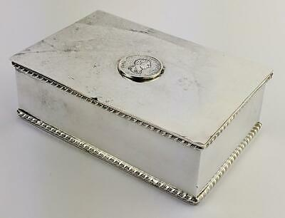 EDWARDIAN SILVER PLATED GEORGE III 1/2 PENNY MOUNT BOX c1900's