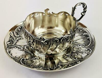 GALLIA / CHRISTOFLE FRENCH ANTIQUE SILVER PLATED CUP HOLDER c1910's​