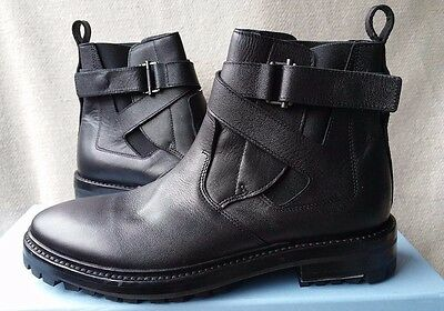 d26765590cc NEW LANVIN 7 UK 8 US Black Leather Belted Chelsea Slip on Boots Shoes  Elastic