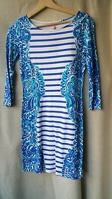 b3323c99a9ed56 NWT AUTH Lilly Pulitzer Nila XS Extra Small Dress Floral Stripe Printed Blue