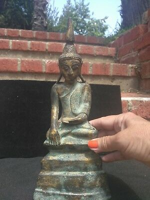 18th-19h century Antique bronze Buddha statue from Burma, ShanStatue! Original!