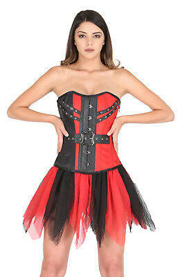 99cdfefbb38 Red Black Satin Gothic Burlesque Waist Cincher Net Skirt Overbust Corset  Dress
