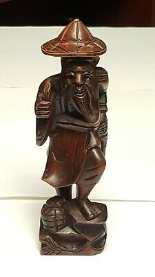 Vintage Hand-Carved Old Wooden Statues Japanese Great Detail