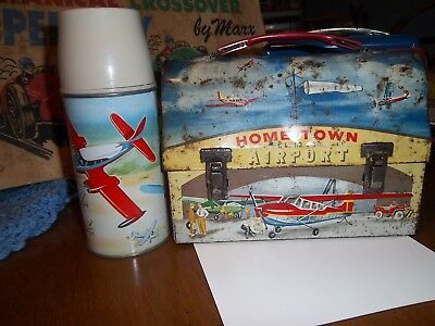 Hometown Airport ~ 1960 Dome Metal Lunchbox With Matching Thermos