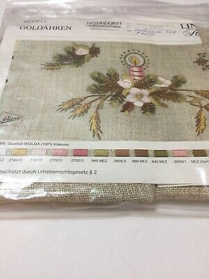 """Lindhorst Tablecloth Embroidery Floral Candle Goldahren Germany 32"""" X 32"""""""