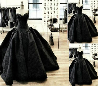 Gothic Black Quinceanera Ball Gown Formal Party Vintage Prom Dress Wedding Gowns