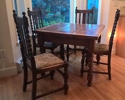 Antique Barley Twist Expandable Draw Leaf Oak Table and 4 Matching Chairs