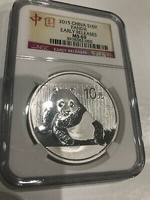 2015 Silver 10 Yuan PANDA of China NGC MS 69 EARLY RELEASES superb Gem BU