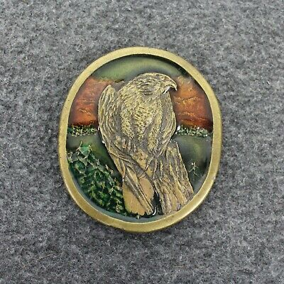 Vintage 70's 1977 Peregrine Falcon Indiana Metal Craft  Belt Buckle