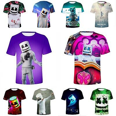 Unisex Marshmello DJ Costume T-shirts Short Sleeve Summer Casual Game Tops Shirt