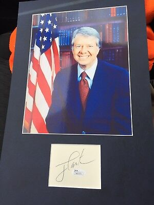 JIMMY CARTER 39TH PRESIDENT SIGNED AUTO VINTAGE MATTED CUT JSA Rare