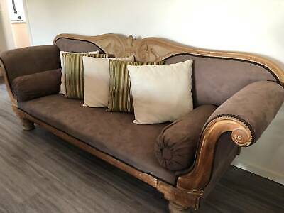 Antique Chaise Lounge. Solid Mahogany.