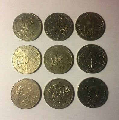 2001 Centenary Of Federation 20 Cents 9 Coins Set - Circulated