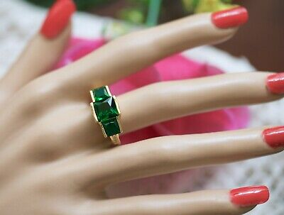 Vintage Jewellery Gold Ring Emerald And White Sapphires Antique Jewelry Size 8