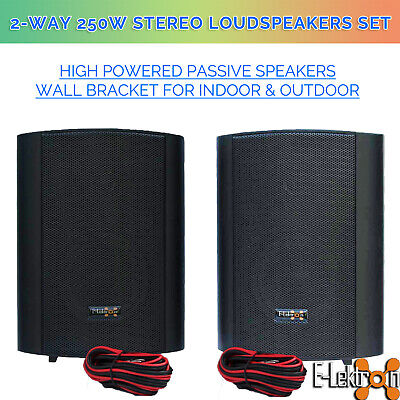 "Black 5"" 250W stereo passive Speaker pair inc. Wall bracket for indoor & outdoor"