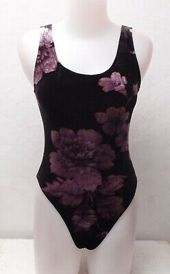 New Burgundy Floral Pattern Velvet Spandex for Women size 10 Small