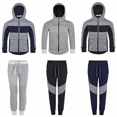 Kids Textured Material Jacket or Trousers Girls Hoodie Boys Front Pockets 3-14 Y