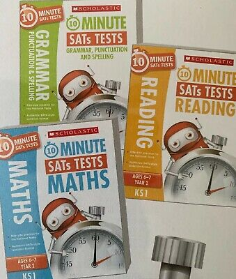 Scolastic 10 Minute SATs Tests 3 Books Maths Reading Grammar Age 6-7 Key Stage 1
