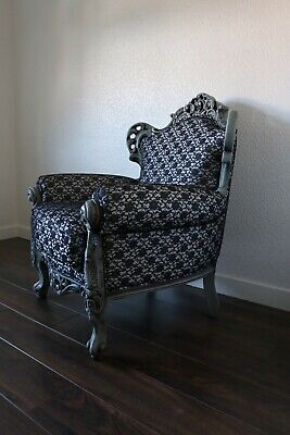 Antique French Louis XVI Style Tub Wing Backed Armchair
