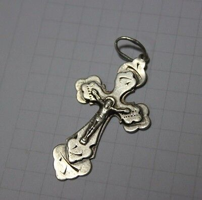 silver 925 USSR jewelry pendant orthodox cross LORD JESUS CHRIST