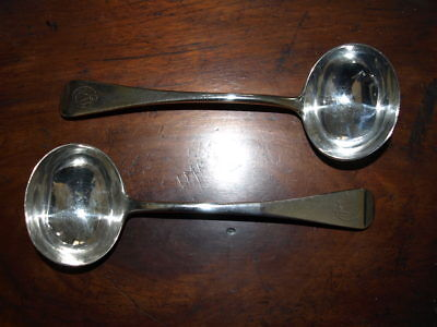 Pair Of Victorian Solid Silver Sauce Ladles, London, 1874.