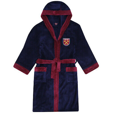 West Ham United FC Official Football Gift Boys Hooded Fleece Dressing Gown Robe