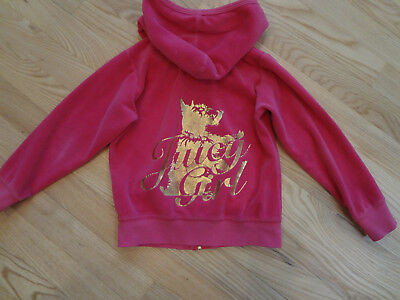 JUICY COUTURE Girls Pink & Gold Velour Hoodie Size 5