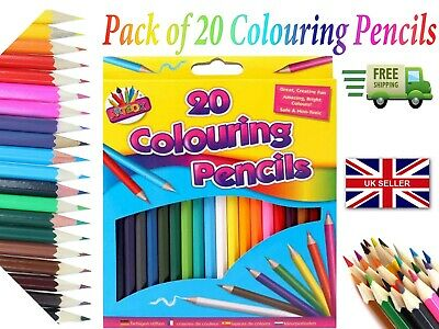 Pack Of 20 Colouring Pencils Assorted Colours Art & Drawing Colour LOT