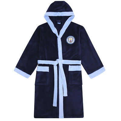 Manchester City FC Official Football Gift Mens Hooded Fleece Dressing Gown Robe